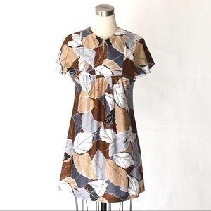 1970s Vintage Leaf Print Smock Mini Dress